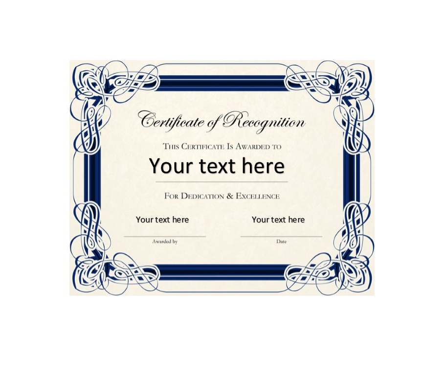 50 Free Certificate Of Recognition Templates Printable Templates