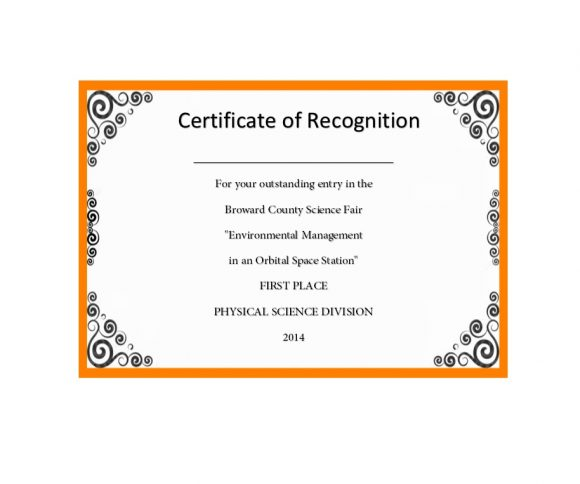 Certificate of Recognition 20