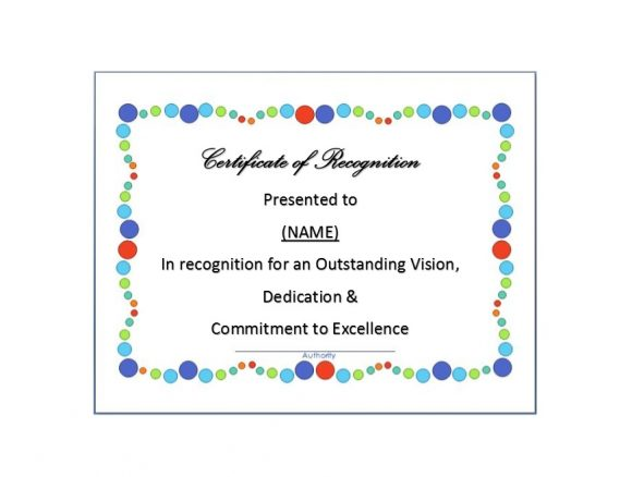 17 Certificate Of Recognition Templates Free Word Pdf