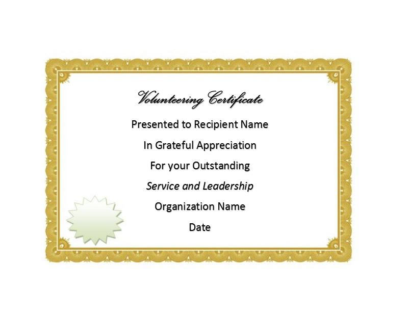Volunteering Certificates 06