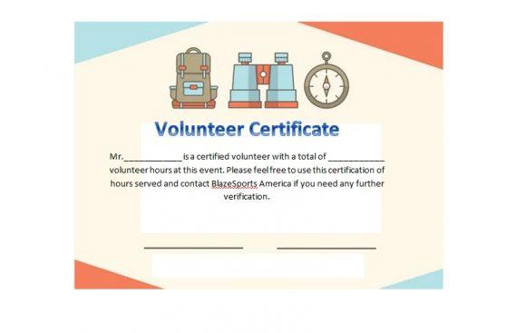 volunteer certificates