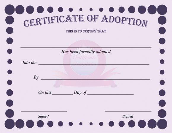 40 Real Fake Adoption Certificate Templates Printable Templates