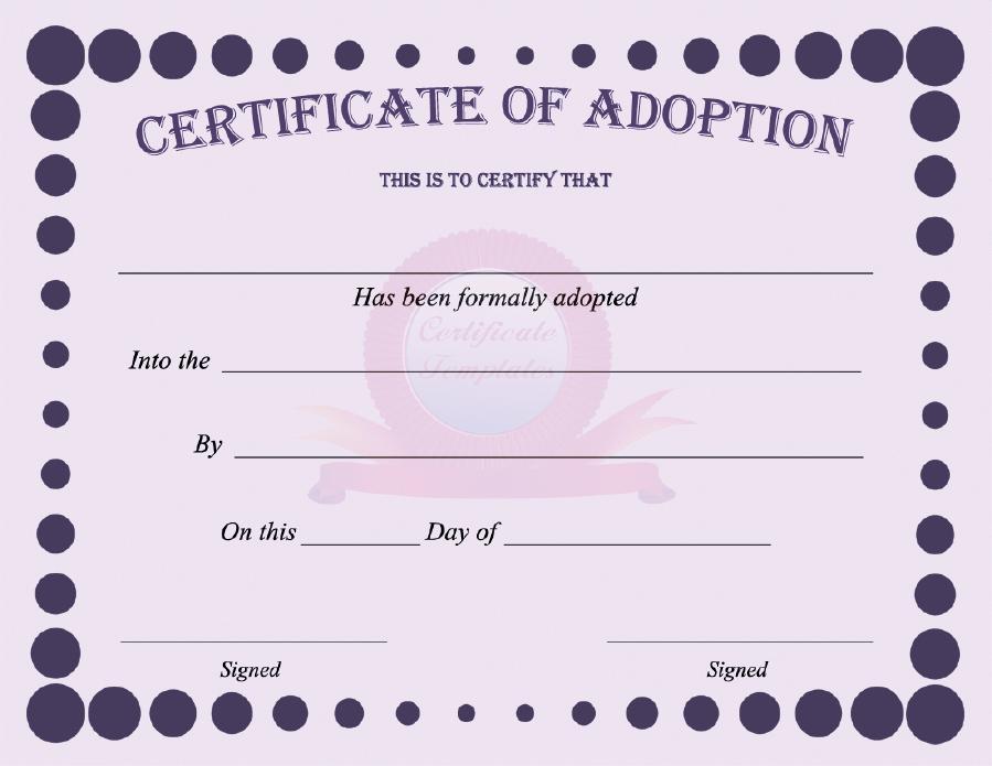 40 Real Fake Adoption Certificate Templates Printable Templates
