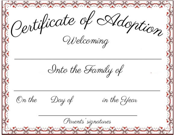 picture regarding Printable Fake Adoption Papers named 40+ True Untrue Adoption Certification Templates - Printable