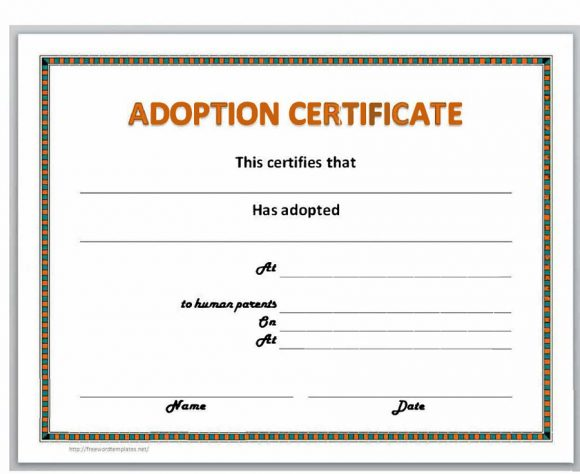 graphic about Free Printable Adoption Certificate titled 40+ Correct Bogus Adoption Certification Templates - Printable