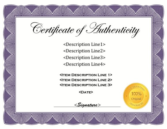37 certificate of authenticity templates art car for Free printable certificate of authenticity templates