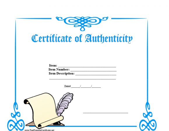 Certificate Of Authenticity Templates Art Car Autograph Photo