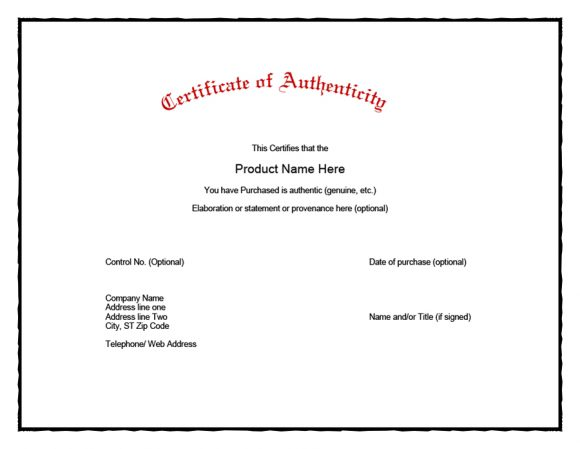 certificate of authenticity 08