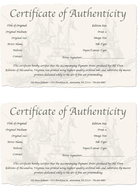certificate of authenticity 18