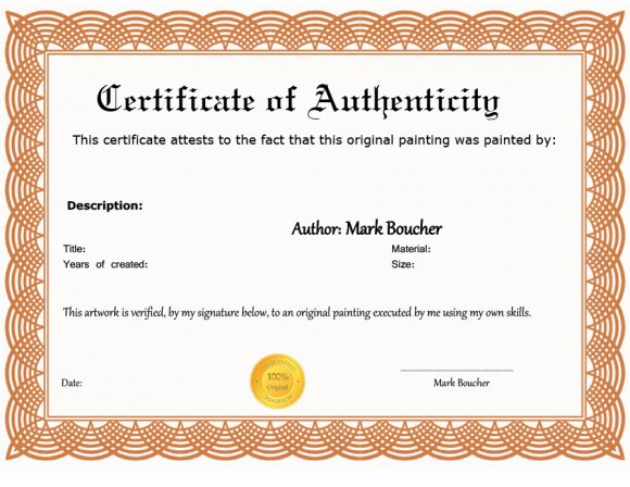 photograph relating to Printable Certificate of Authenticity referred to as 37 Certification of Authenticity Templates (Artwork, Automobile
