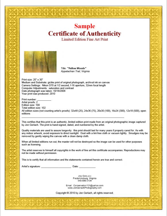 37 Certificate Of Authenticity Templates Art Car Autograph Photo