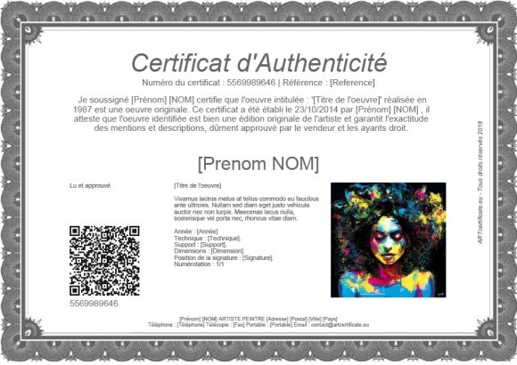 certificate of authenticity 22