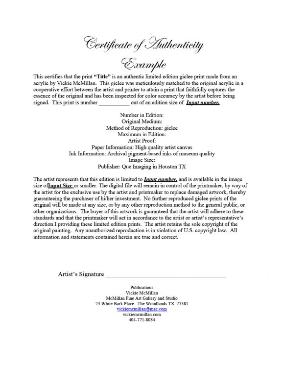 certificate of authenticity 24