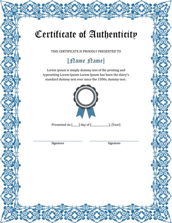 certificate of authenticity 29