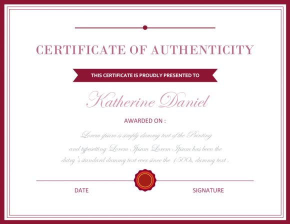 certificate of authenticity 33