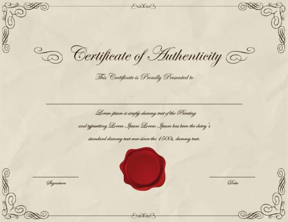 certificate of authenticity 34