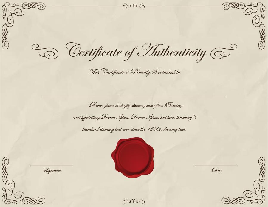 37 Certificate Of Authenticity Templates Art Car Autograph Photo