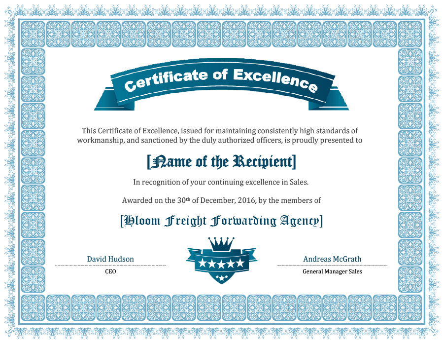 40 Amazing Certificate Of Excellence Templates Printable Templates
