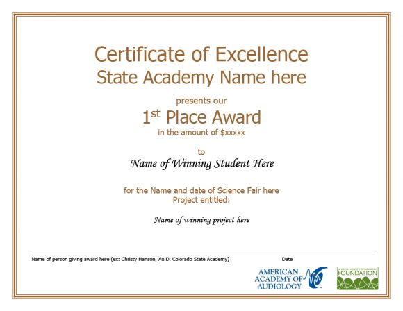 certificate of excellence 09