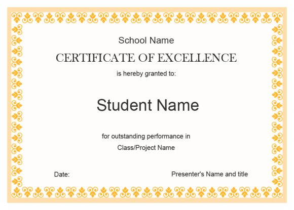 certificate of excellence 19