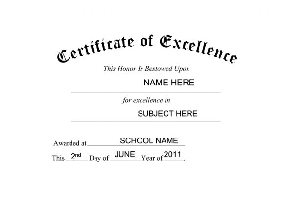 certificate of excellence 20