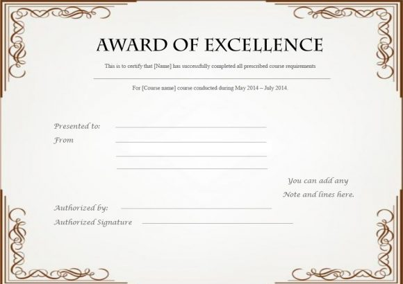 certificate of excellence 22