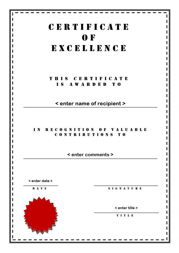 certificate of excellence 30