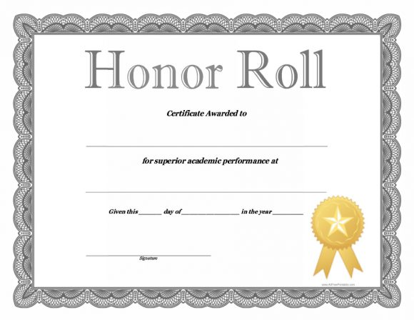 honor roll certificate 01