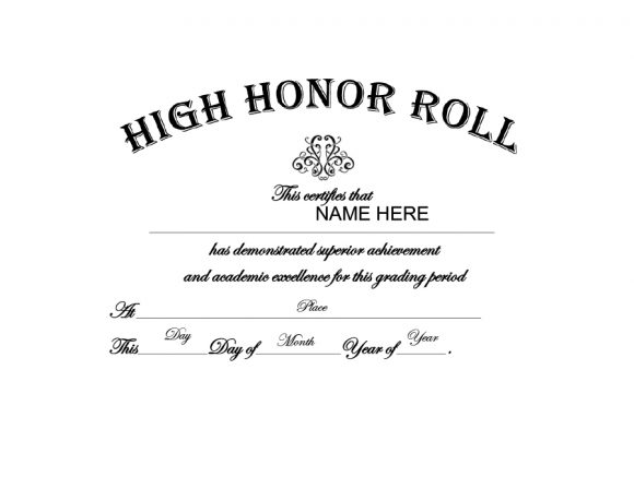 honor roll certificate 03