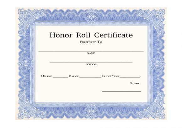 honor roll certificate 05