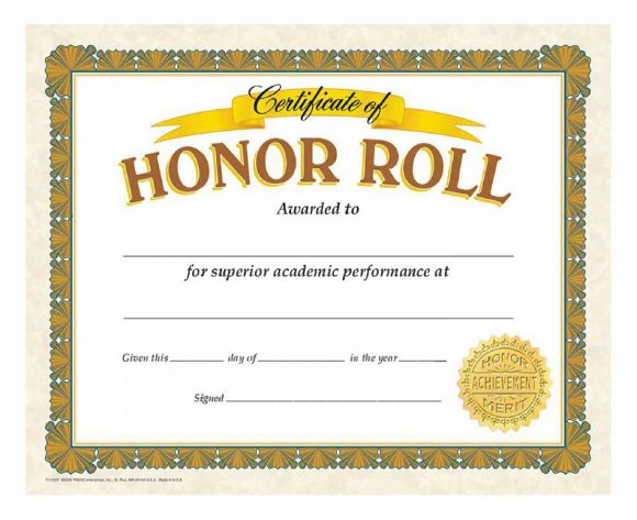 honor roll certificate 09