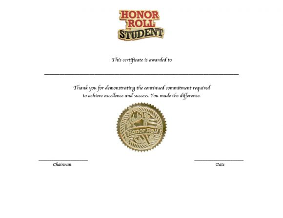 honor roll certificate 11