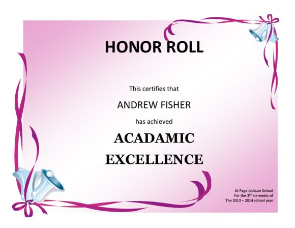 honor roll certificate 12