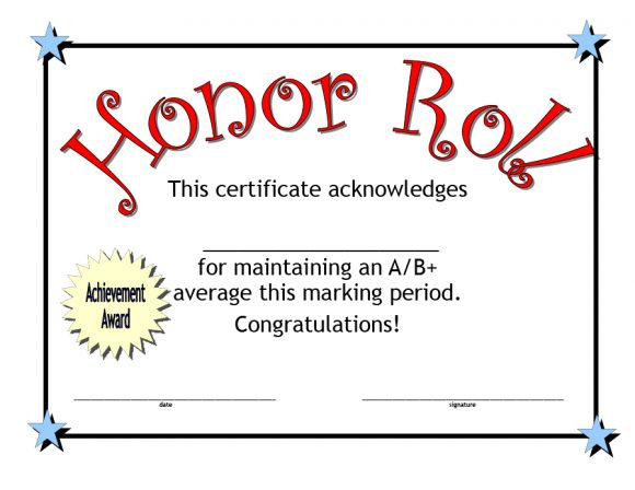 honor roll certificate 13