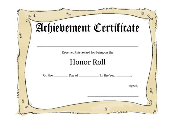 honor roll certificate 18