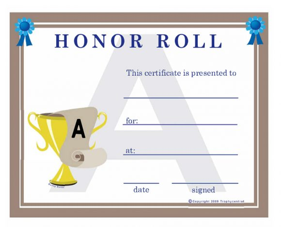 honor roll certificate 20