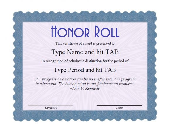 honor roll certificate 24