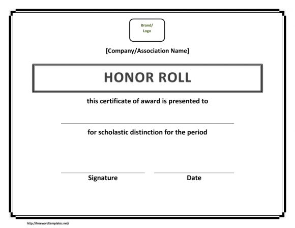 honor roll certificate 25