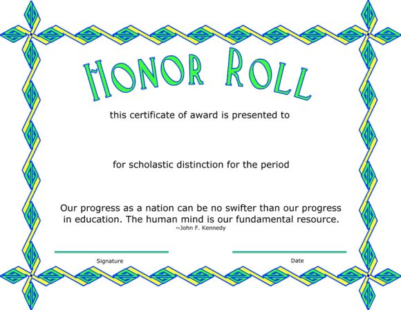 honor roll certificate 26