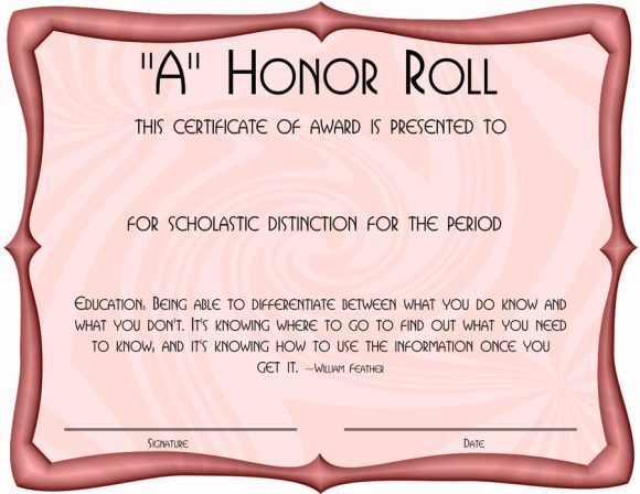 honor roll certificate 27