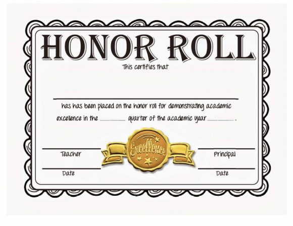 honor roll certificate 31