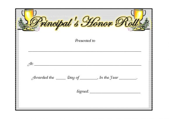 honor roll certificate 38