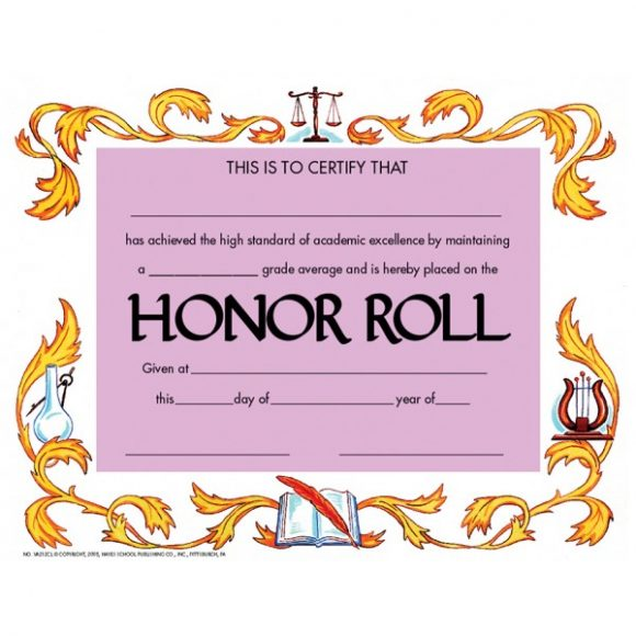 honor roll certificate 44