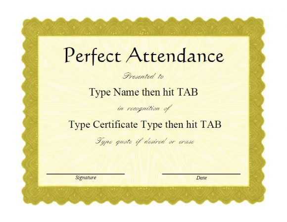 perfect attendance award 31