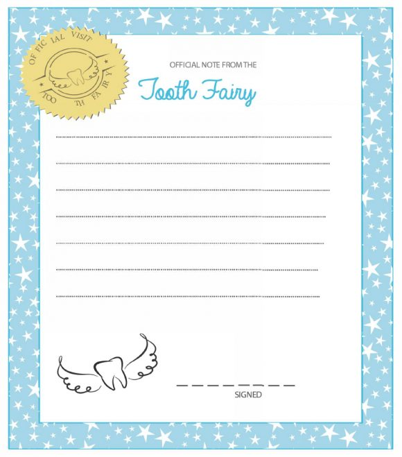photo relating to Tooth Fairy Printable Letter named 37 Enamel Fairy Certificates Letter Templates - Printable