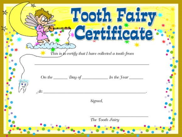 picture about Printable Tooth Fairy Certificate named 37 Teeth Fairy Certificates Letter Templates - Printable