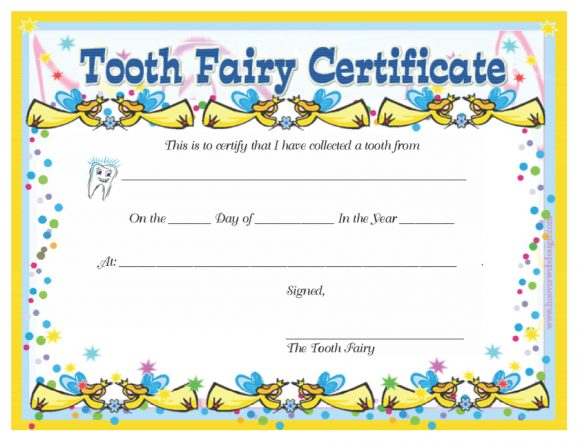 tooth fairy certificate printable  37 Tooth Fairy Certificates