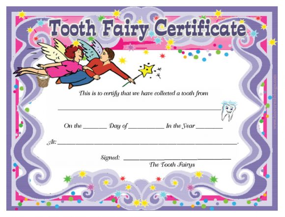 photo regarding Free Printable Tooth Fairy Letters known as 37 Teeth Fairy Certificates Letter Templates - Printable