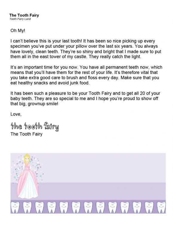 tooth fairy letter 16