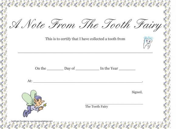image relating to Tooth Fairy Letter Printable called 37 Teeth Fairy Certificates Letter Templates - Printable